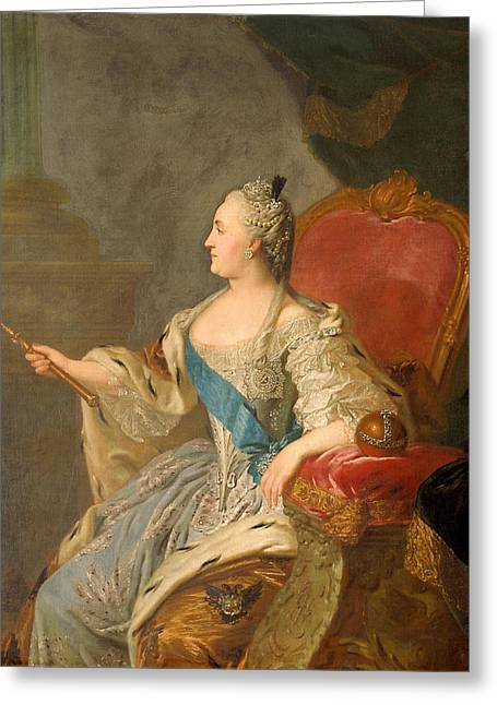 Grand Gestures Greeting Cards - Catherine The Great, 1763 Oil On Canvas Greeting Card by Fedor Stepanovich Rokotov