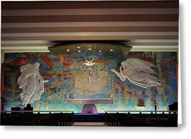 Paulette Wright Digital Art Greeting Cards - Catholic Chapel at Air Force Academy Greeting Card by Paulette B Wright