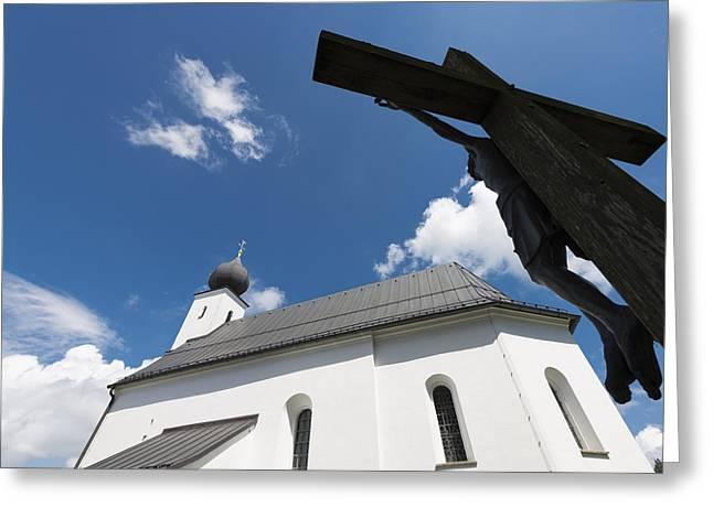 Deutschland Greeting Cards - Catholic church and crucifix Greeting Card by Matthias Hauser