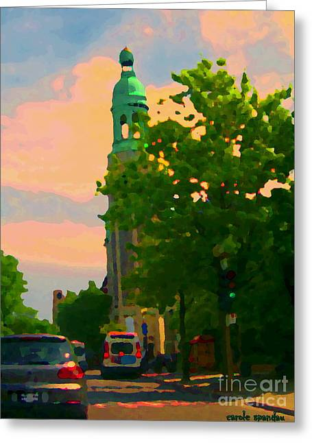 Street Scenes Greeting Cards - Catholic Church In The City Beautiful Blue Skies Of Montreal Religious  Artwork  Carole Spandau Greeting Card by Carole Spandau
