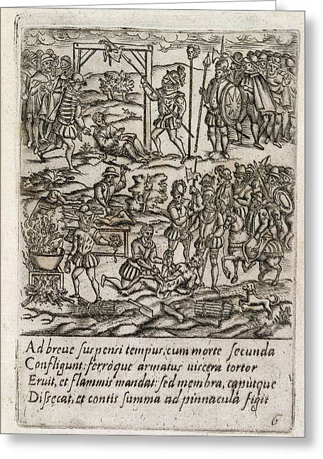Catholic Priests Being Killed Greeting Card by British Library