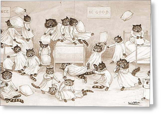 Cathouse Dormitory 1906 Greeting Card by Padre Art