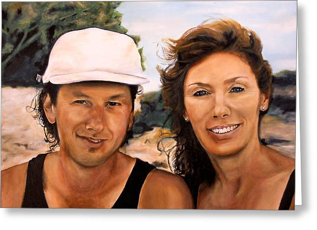 Catherine White Paintings Greeting Cards - Cathy and Corry Greeting Card by Michelle Iglesias