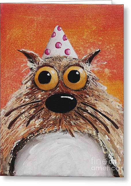 Party Hat Greeting Cards - Catitude Greeting Card by Lucia Stewart