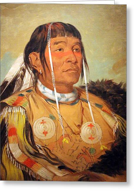 Photograph Of Painter Greeting Cards - Catlins Sha-co-pay -- The Six -- Chief Of The Plains Ojibwa Greeting Card by Cora Wandel