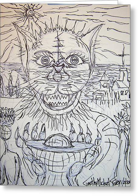 Goblet Drawings Greeting Cards - CatMan and the Sea Greeting Card by Timothy  Foley
