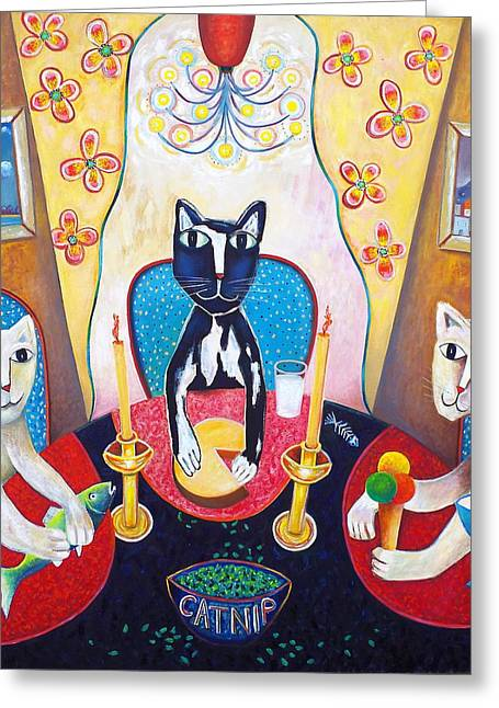 Toller Cranston Greeting Cards - Catnip and other Pleasures Greeting Card by Andrew Osta