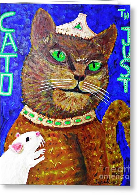 Fanciful Paintings Greeting Cards - Cato the Just and a Supplicant Greeting Card by Sarah Loft