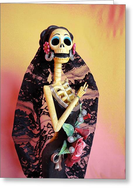 Dia De Los Muertos Greeting Cards - Catrina so Elegant Greeting Card by Sandra Lewis