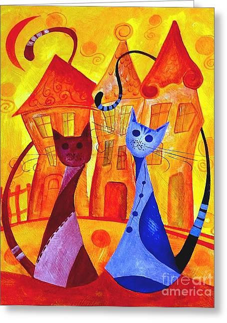 Subtle Colors Greeting Cards - Cats 532-11-13 marucii Greeting Card by Marek Lutek