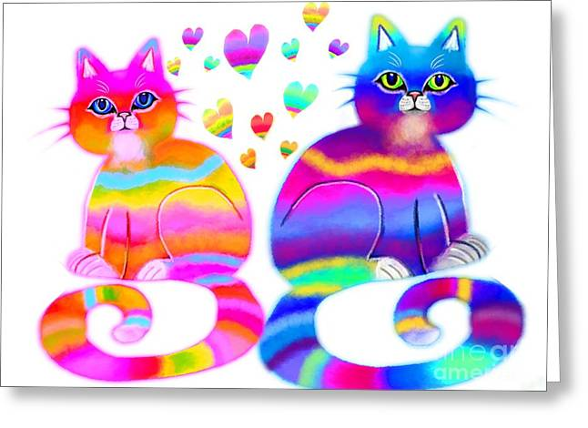 Cat Lover Greeting Cards - Cats and Hearts Greeting Card by Nick Gustafson