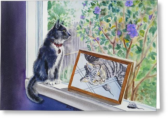 Cats And Mice Sweet Memories Greeting Card by Irina Sztukowski