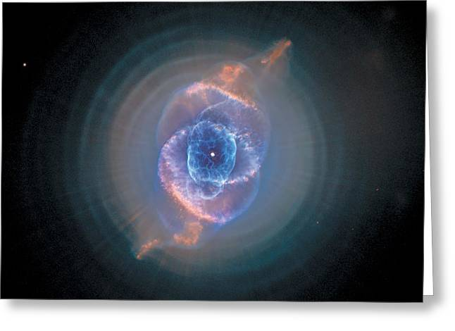 Stellar Paintings Greeting Cards - Cats Eye Nebula - NGC 6543  Greeting Card by Celestial Images