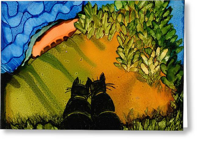 Black Cat Hillside Greeting Cards - Cats Eye the Sky Greeting Card by Maureen Rousseau