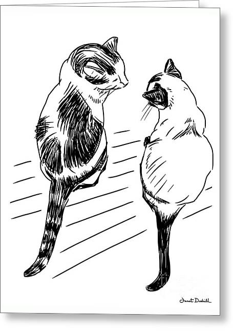 Tablets Drawings Greeting Cards - Cats Face To Face Greeting Card by Janet Dodrill