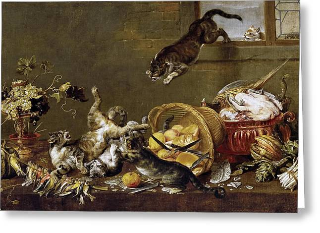 Larder Greeting Cards - Cats Fighting in a Larder Greeting Card by Paul de Vos
