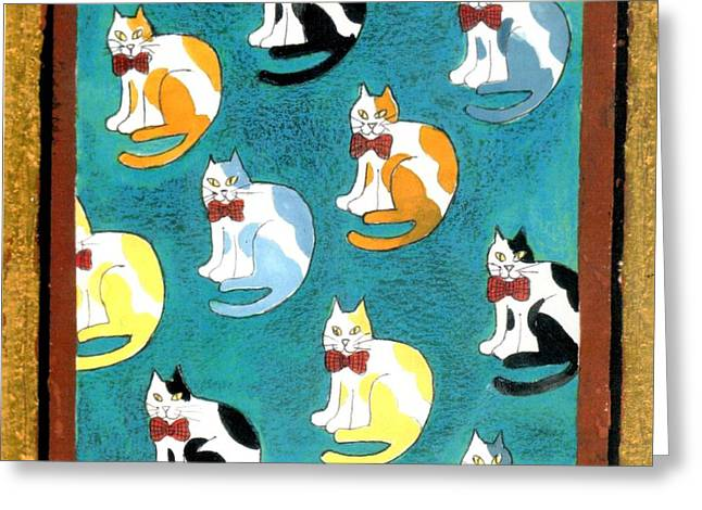 Black Tie Paintings Greeting Cards - Cats Greeting Card by Genevieve Esson