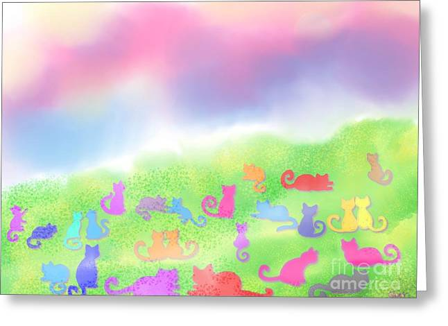 Cat Drawings Greeting Cards - Cats in the Meadow Greeting Card by Nick Gustafson