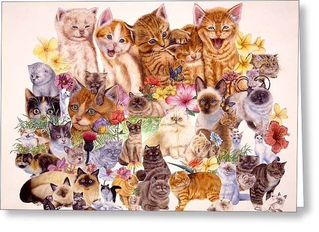 Cat Prints Greeting Cards - Cats Greeting Card by John YATO