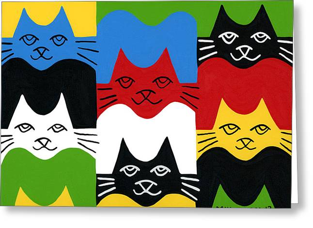 Mike Segal Greeting Cards - Cats Greeting Card by Mike Segal