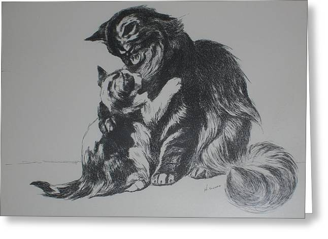 Baby Kitten Art Drawings Greeting Cards - Cats - Mother with Baby Greeting Card by Henry Goode