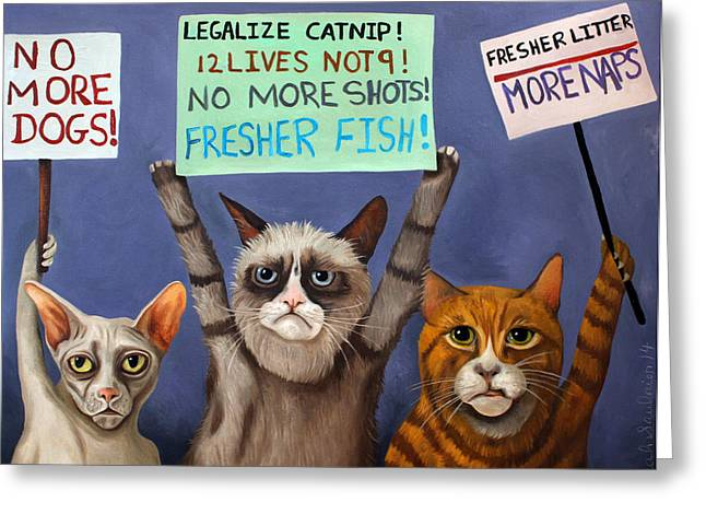 Strike Paintings Greeting Cards - Cats On Strike edit 2 Greeting Card by Leah Saulnier The Painting Maniac