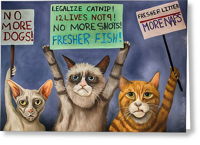Strike Paintings Greeting Cards - Cats On Strike edit 3 Greeting Card by Leah Saulnier The Painting Maniac