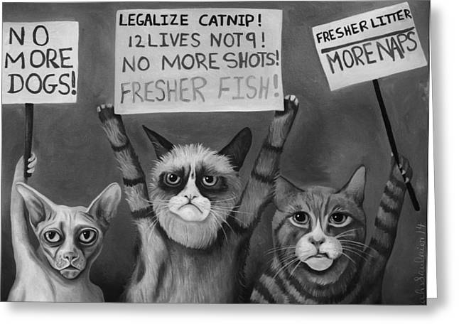 Strike Paintings Greeting Cards - Cats On Strike edit 5 Greeting Card by Leah Saulnier The Painting Maniac