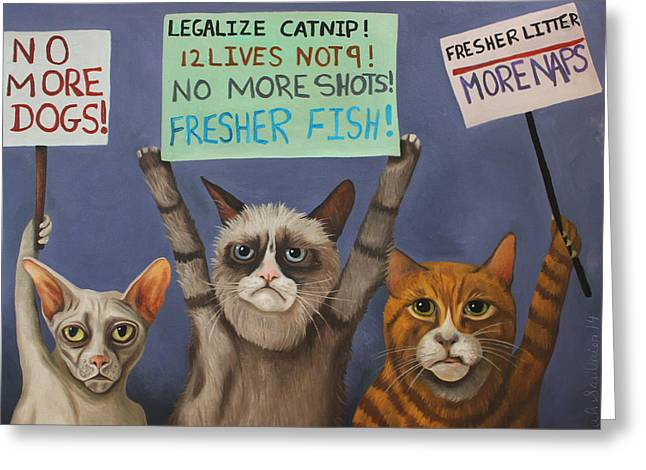 Cats On Strike Greeting Card by Leah Saulnier The Painting Maniac