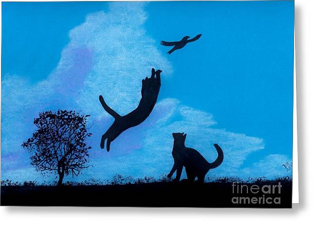 Hand Drawn Pastels Greeting Cards - Cats -  Playing Greeting Card by D Hackett