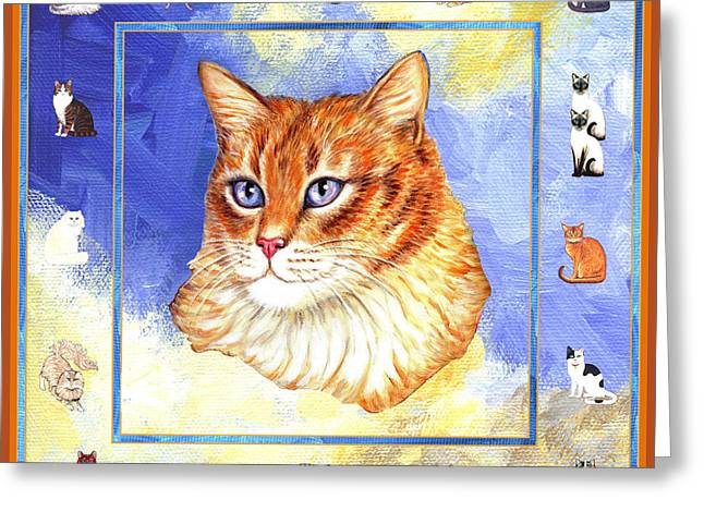 Cats Purrfection Five - Orange Tabby Greeting Card by Linda Mears