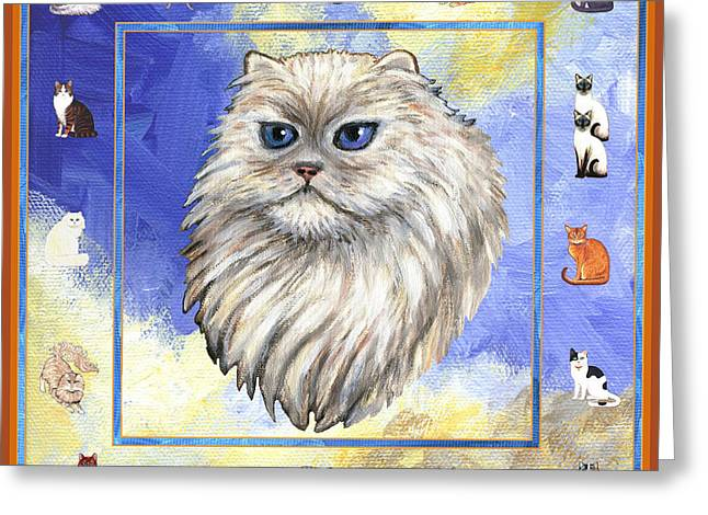 Cats Purrfection Four - Persian Greeting Card by Linda Mears
