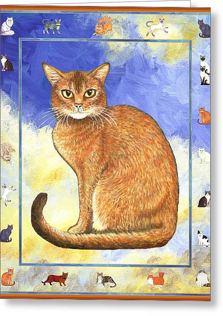 Cat Greeting Cards - Cats Purrfection Two - Abyssinian Greeting Card by Linda Mears