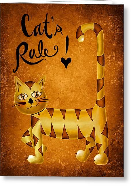 Bryant Digital Art Greeting Cards - Cats Rule Greeting Card by Brenda Bryant