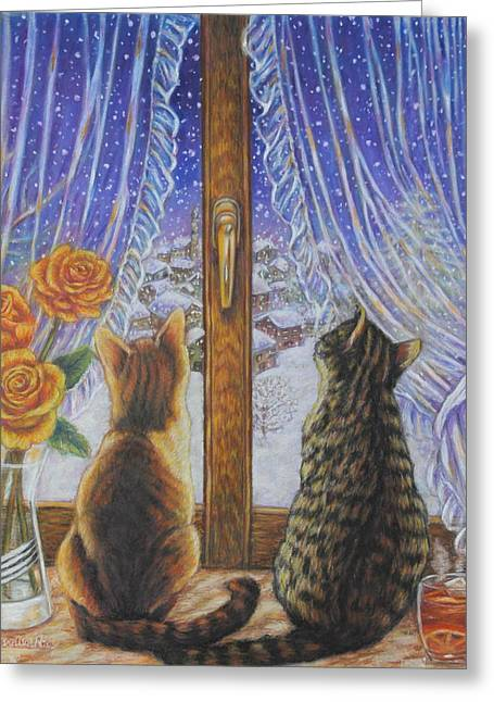 Pictures Of Cats Paintings Greeting Cards - Cats Watching the Snowfall Greeting Card by Alessandra Rosi
