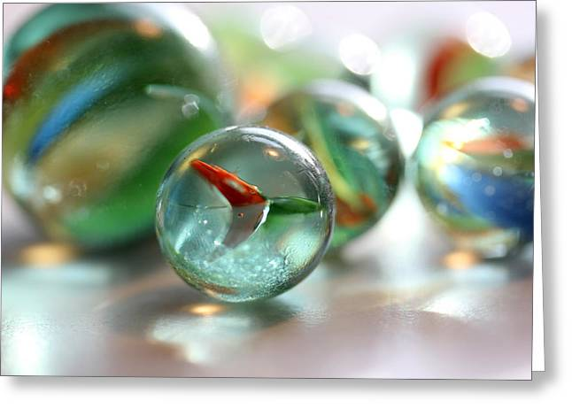 Cats Eye Marbles Greeting Cards - Catseye 3 Greeting Card by Mary Bedy