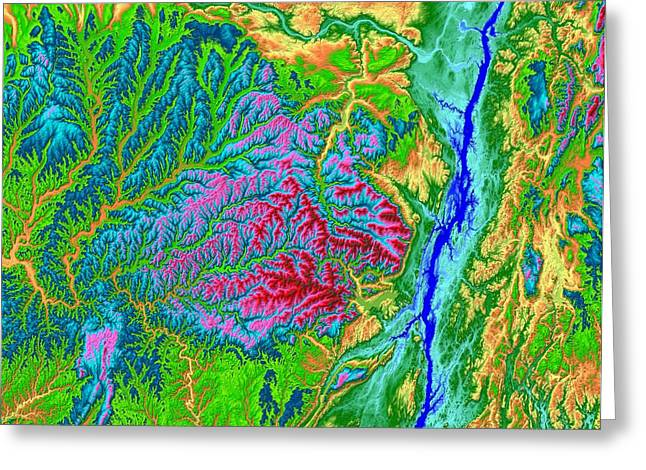 Geology Digital Art Greeting Cards - Catskills Map Art Greeting Card by Paul Hein