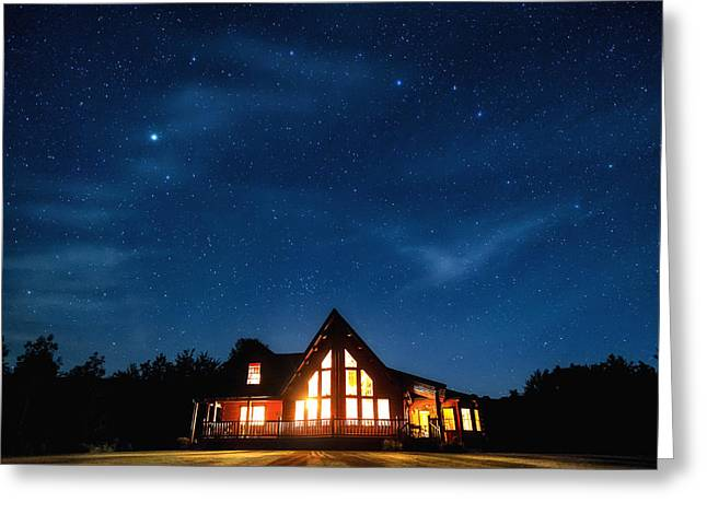 Way Home Greeting Cards - Catskills Milky Way Over Cabin Greeting Card by Geoffrey Baker