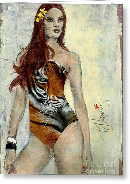 Swimwear Greeting Cards - Catsuit Greeting Card by P J Lewis