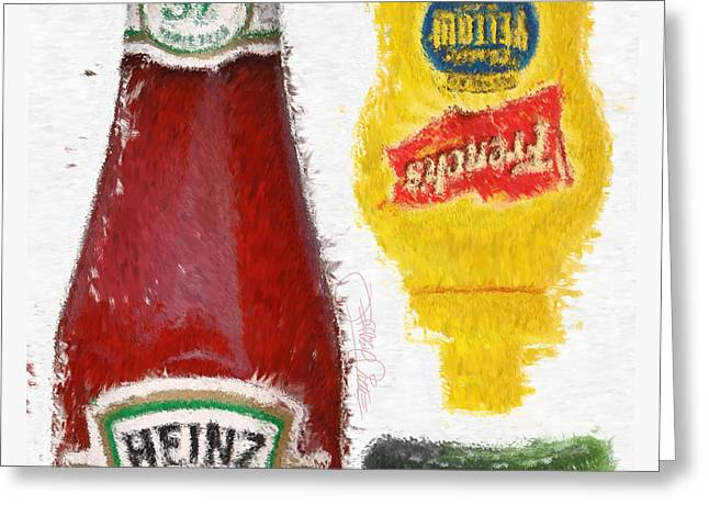 Ketchup Digital Greeting Cards - Catsup Pickle Mustard Greeting Card by Jeffrey Pittle
