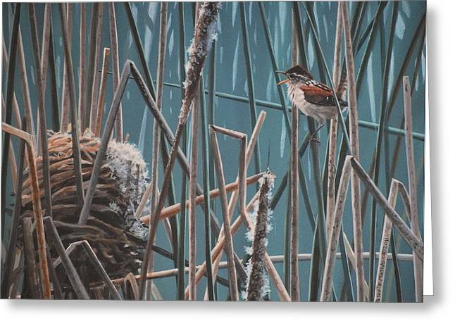Peter Mathios Greeting Cards - Cattail Hideaway Greeting Card by Peter Mathios