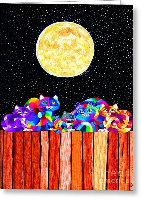Feline Mixed Media Greeting Cards - Catting in the Moonlight Greeting Card by Nick Gustafson