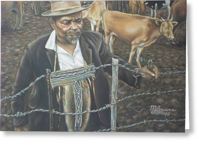 Mending Fence Greeting Cards - Cattle and African Rancher Greeting Card by Michael Briere