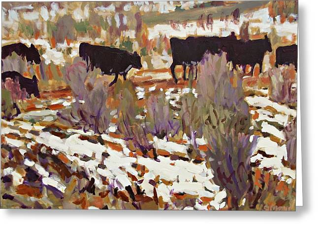 Cattle Greeting Card by Brian Simons