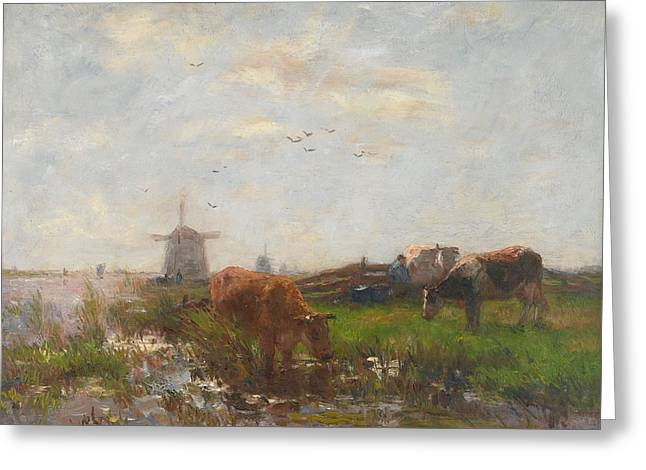 Moo Moo Greeting Cards - Cattle Grazing Greeting Card by Willem Maris