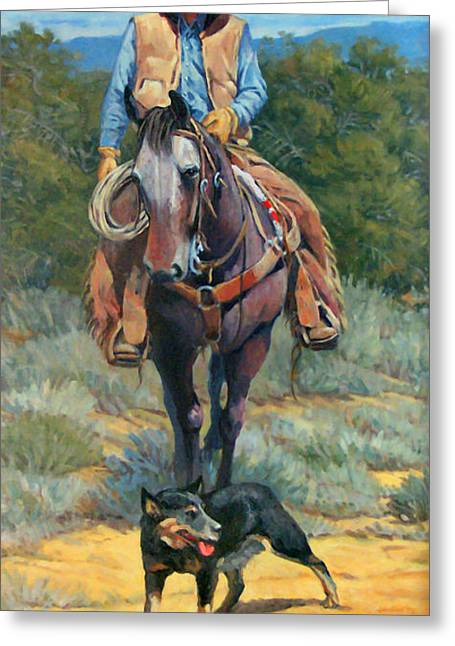 Heeler Greeting Cards - Cattle King Greeting Card by Randy Follis