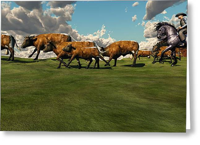 Bull Rider Art Greeting Cards - Cattle Roundup Greeting Card by Corey Ford