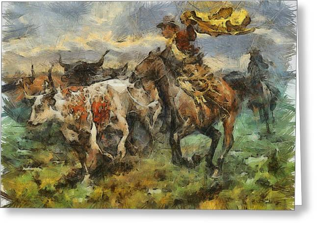 Cattle Greeting Card by Shimi Gasaba