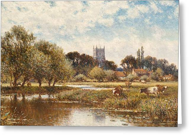 Green Grass Blue Sky Greeting Cards - Cattle watering Greeting Card by Alfred Augustus Glendening