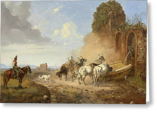 Cattle Watering At A Fountain On The Via Appia Antiqua Greeting Card by Heinrich Buerkel